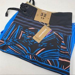 Patagonia Rain Fern Stripe Port Blue Board Shorts